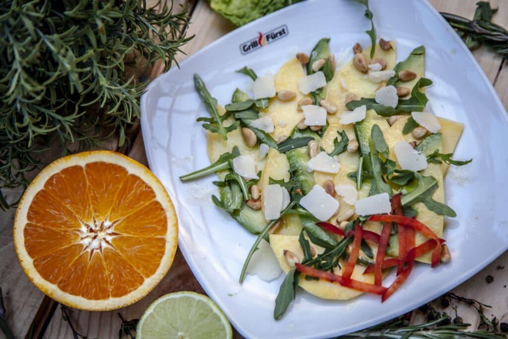 Rezept für Avocado Mango Carpaccio zum Grillen