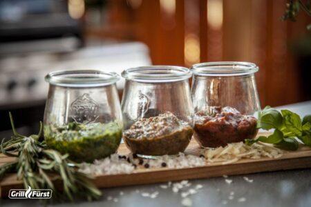 3 Pesto Variationen zum Grillen: Genovese, Chimichurri, Rosso