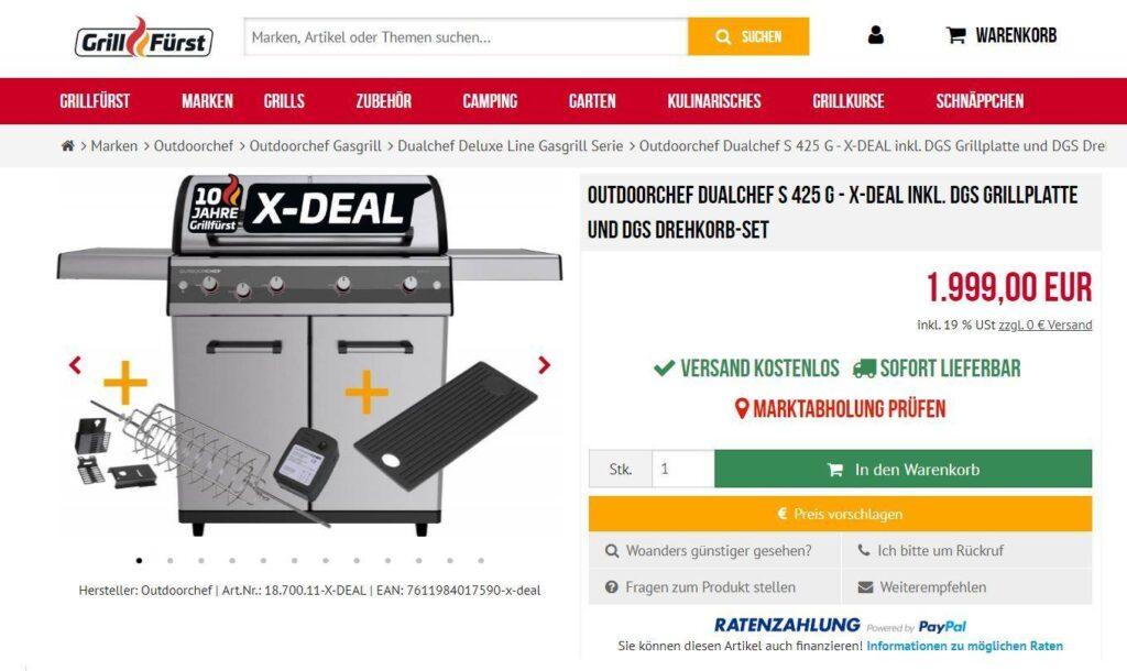 Nur für kurze Zeit als X-DEAL inkl. DGS Grillplatte und DGS Drehkorb-Set!