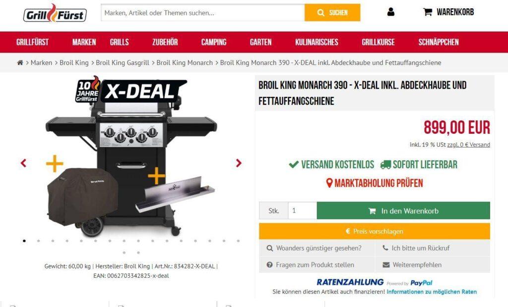 Bei Grillfürst bekommt ihr aktuelle den Broil King Monarch 390 - X-DEAL inkl. Abdeckhaube und Fettauffangschiene für 899€