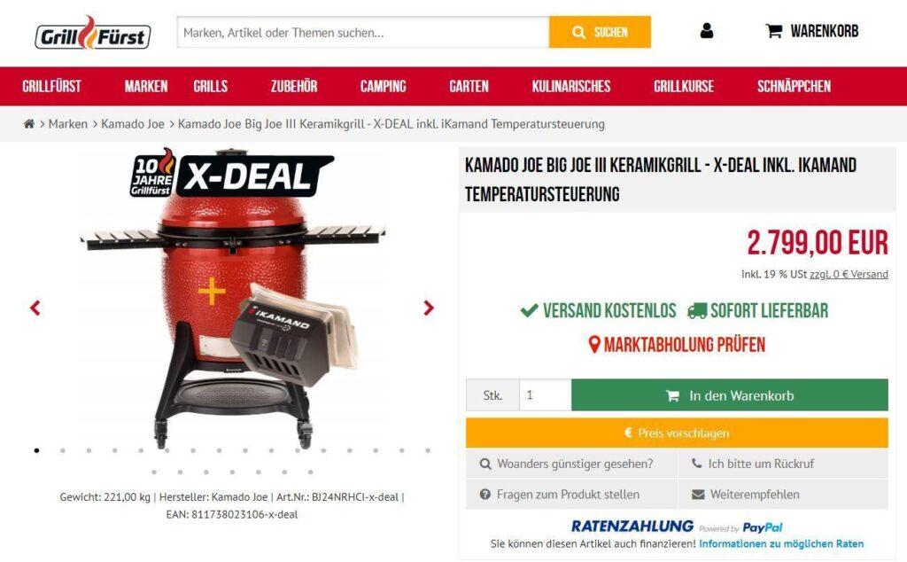 Kamado Joe Big Joe III Keramikgrill - inkl. iKamand Temperatursteuerung für nur  2.799,00€ bei Grillfürst.