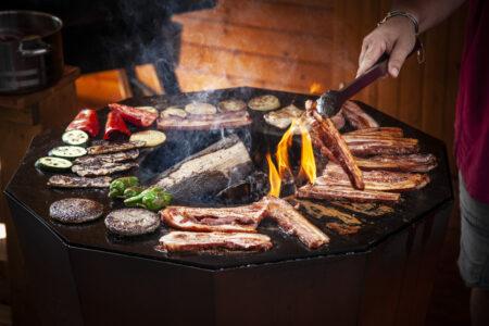 Verschiedenes Fleisch und Gemüse auf einer Feuerplatte / Feuertonne