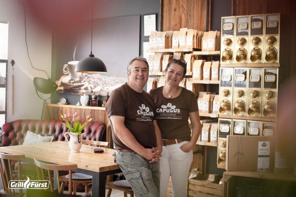 Wilfried Brähler und Daniela Fey fühlen sich in ihrer Capulus Rösterei in Bad Hersfeldwohl.