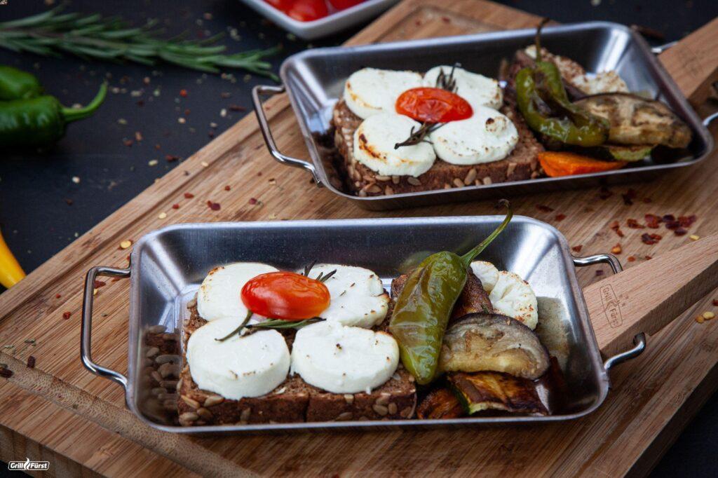 Gemüse Antipasti vom Grill mit Ziegenkäse