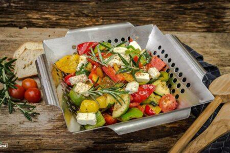 Grillfürst Gemüsekorb aus Edelstahl - Vegetarisch Grillen