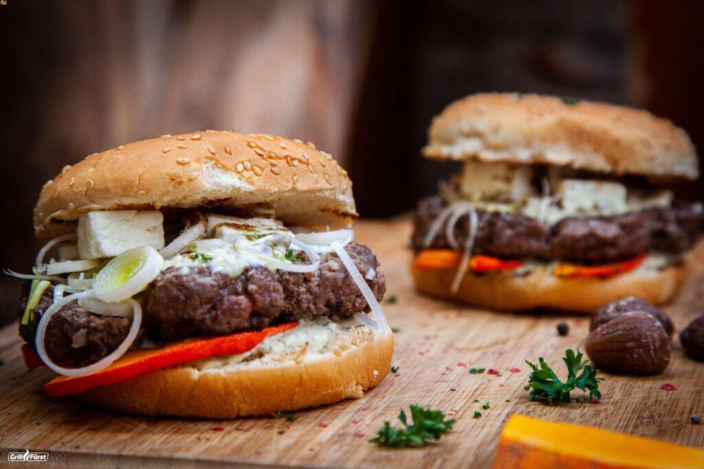 Rezept für Herbst Burger mit Kürbis, Maronen und Feta
