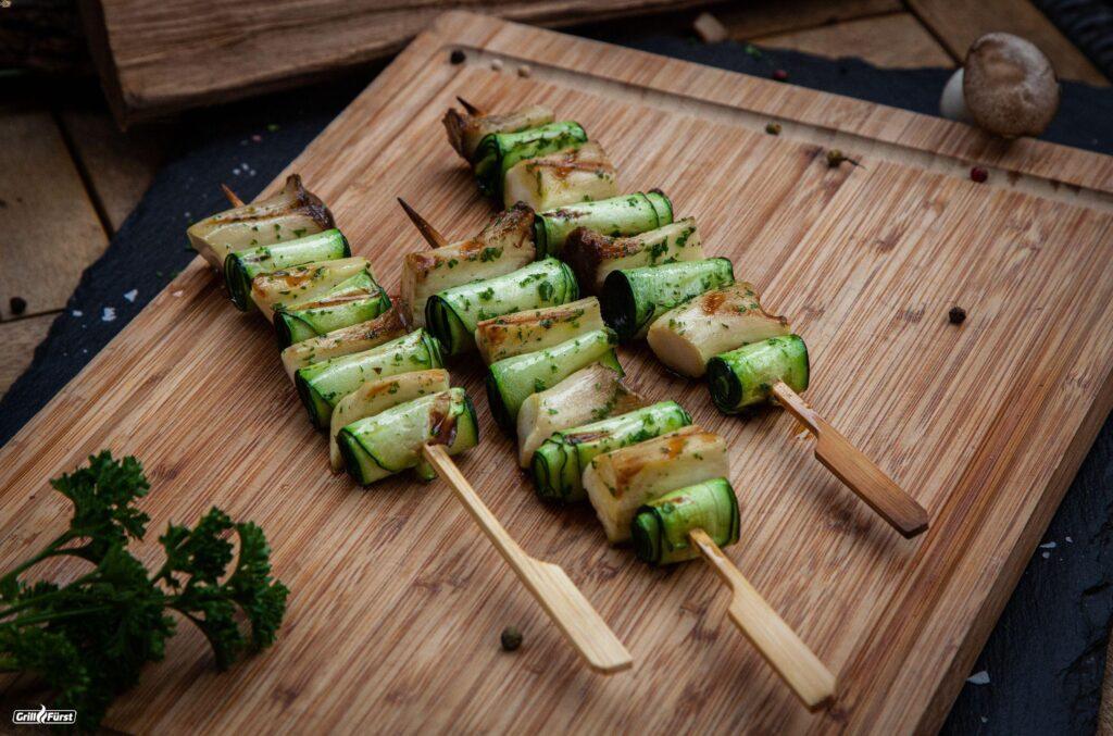 Kräuterseitlinge am Spieß mit Zucchini