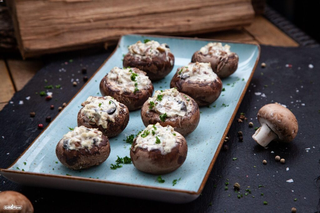 Pilze gefüllt mit Seelachs Frischkäse
