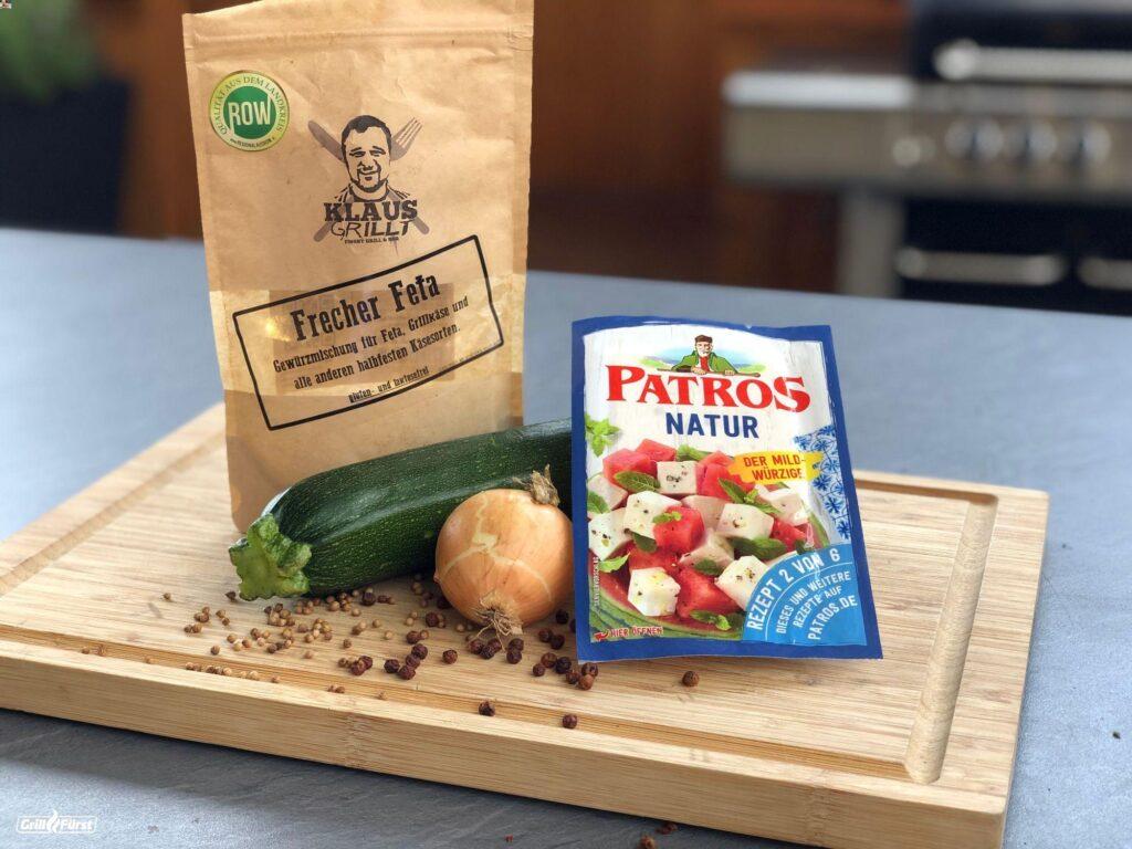 Zutaten für die Zucchini Feta Päckchen