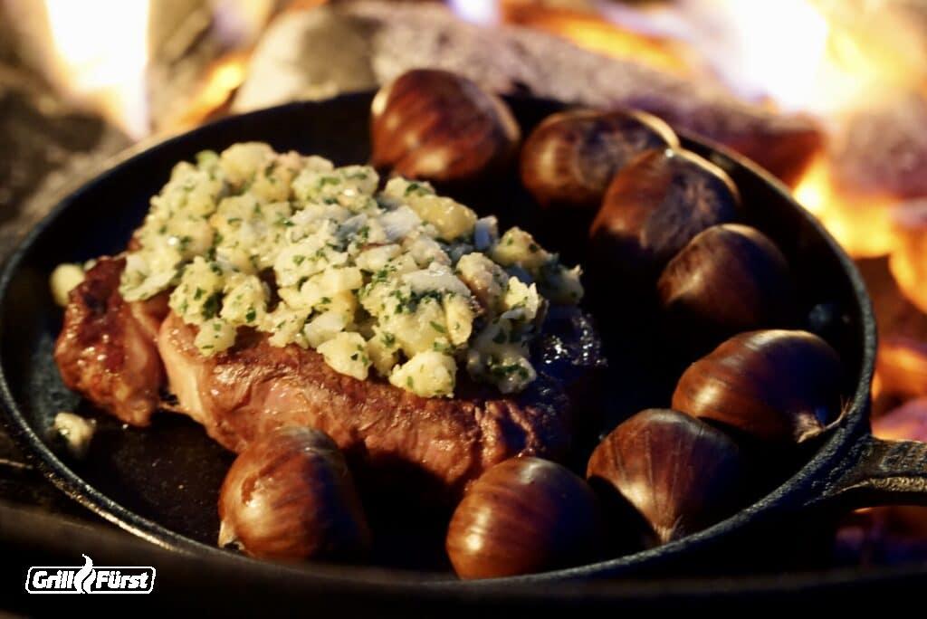 Roastbeef mit Maronenkruste in Gusspfanne