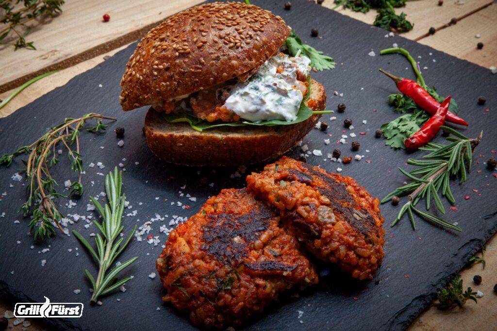 Hummusfrikadellen als Burger, Vegetarische Burger Patties