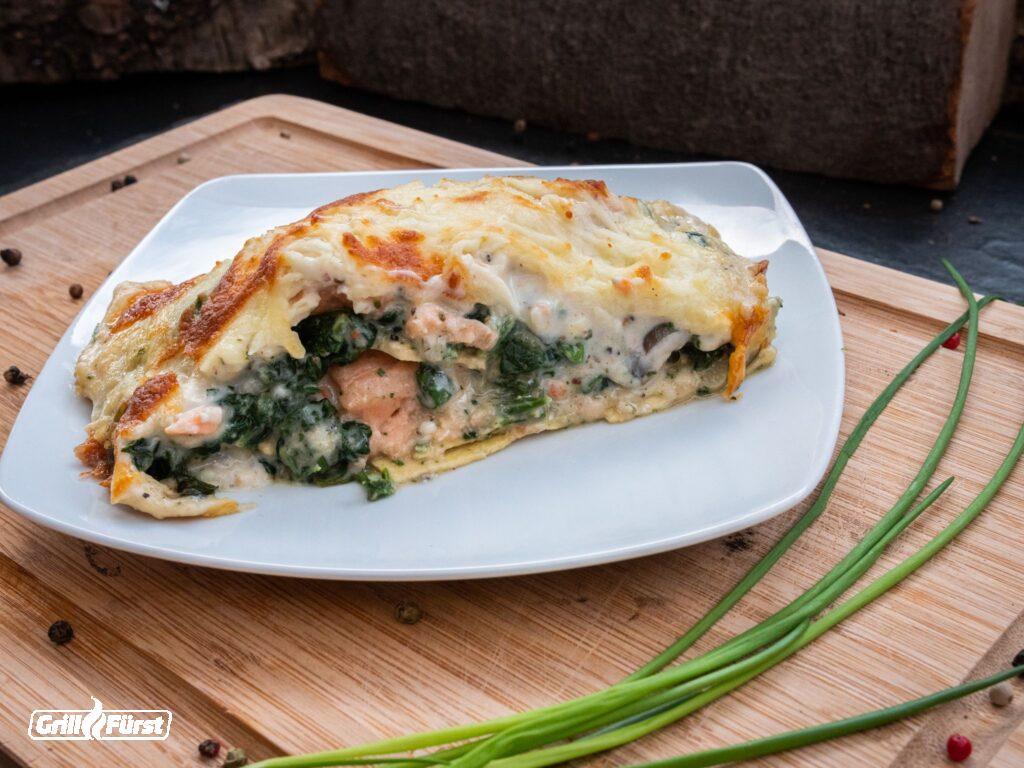Lachs Spinat Lasagne aufgeschnitten