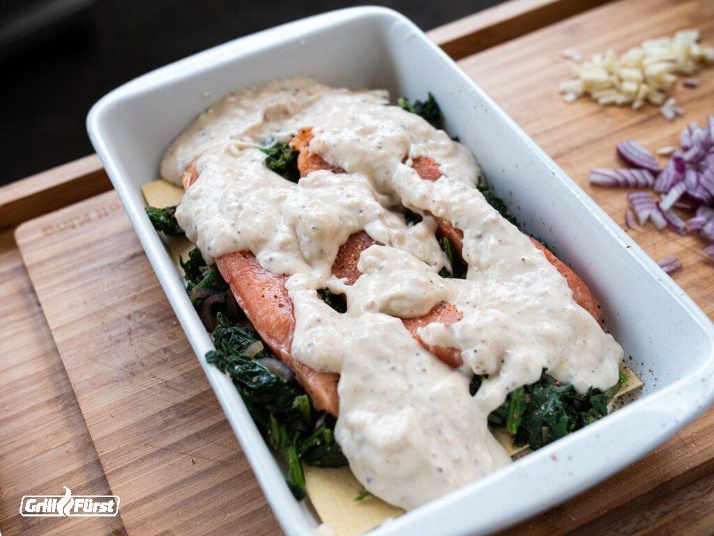 Lachs Lasagne mit Bechamelsoße