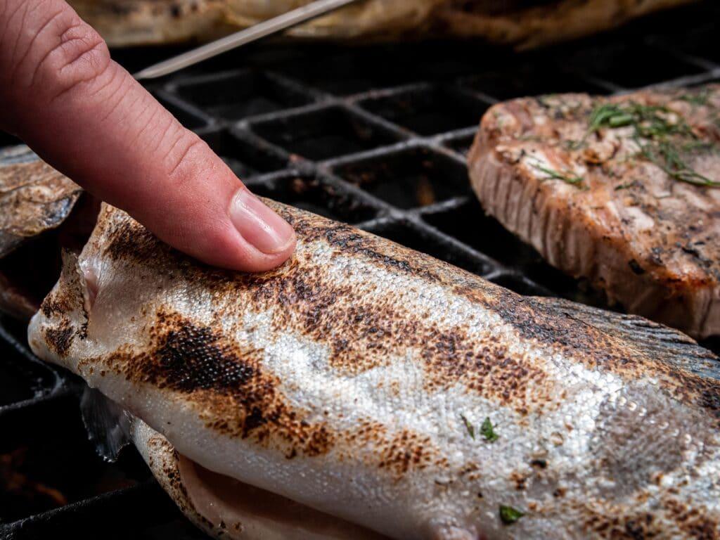 Garpunkt Fisch mit den Fingern