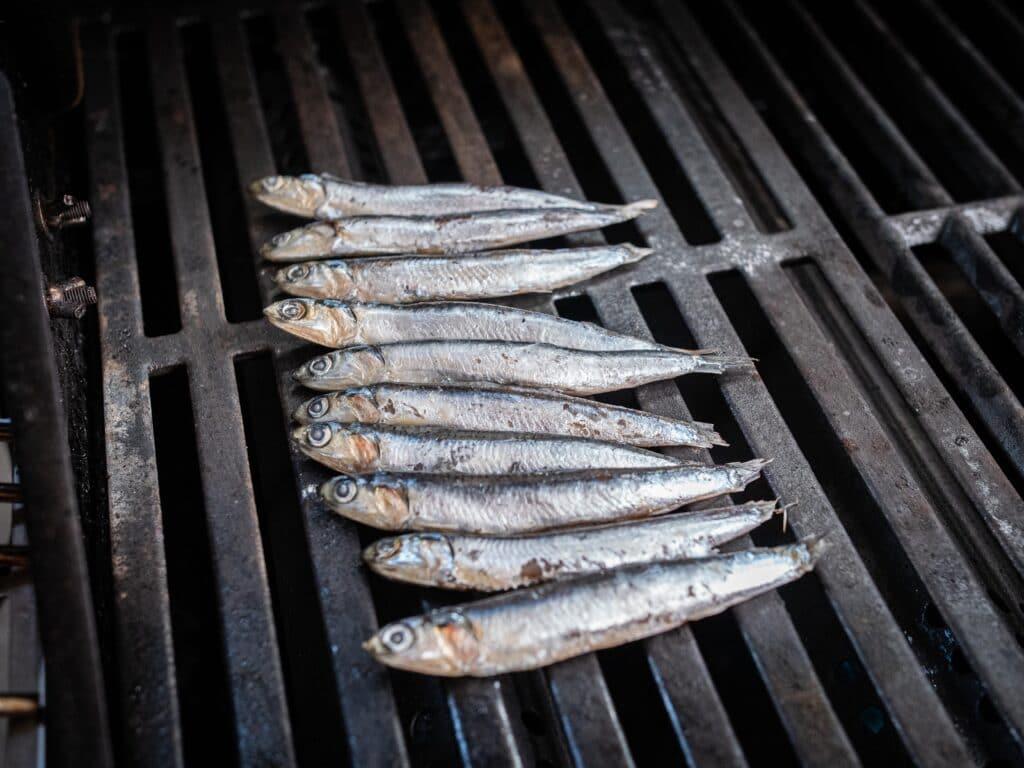 Sardinen grillen auf dem Grillrost