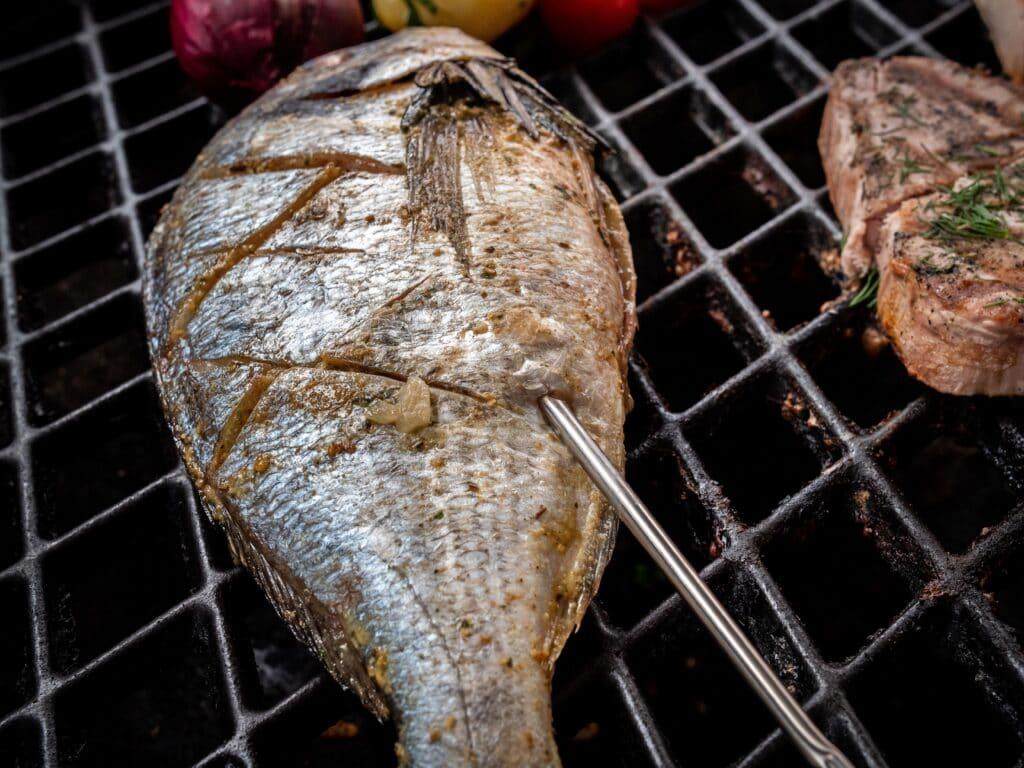 Kerntemperatur messen Fisch mit Thermometer