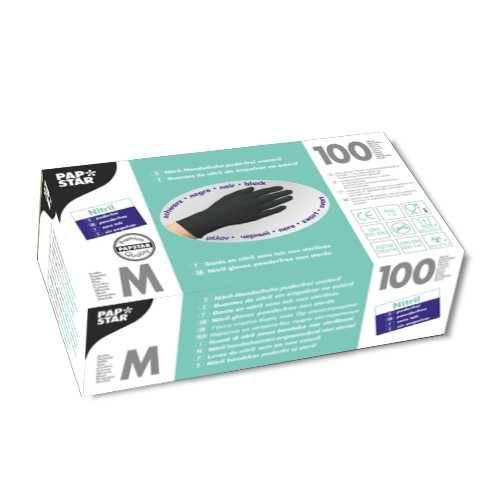 100 Handschuhe, Nitril puderfrei schwarz Größe M