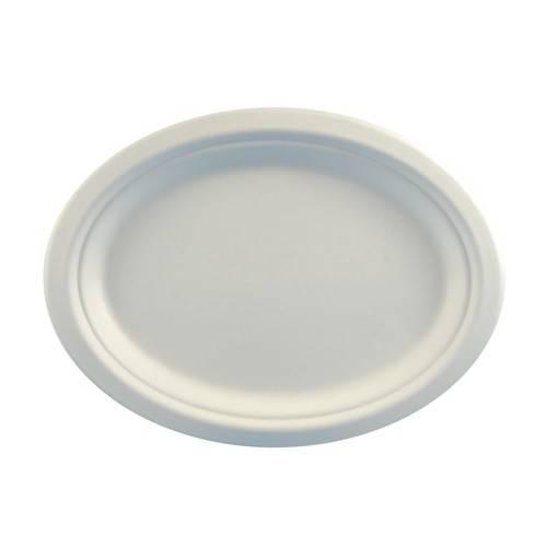 """12 Teller, Zuckerrohr """"pure"""" oval 26 cm x 20 cm x 2 cm weiss"""