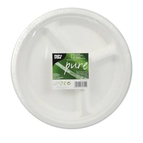 """12 Teller, Zuckerrohr """"pure"""" 3-geteilt Ø 26 cm 2 cm weiss"""