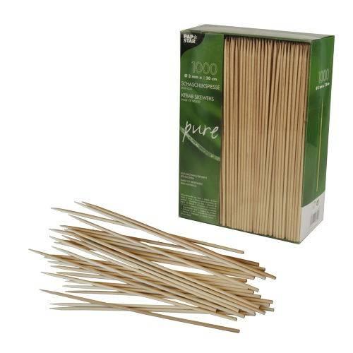 Papstar: 1000 Schaschlikspieße, Holz pure Ø 3 mm 20 cm