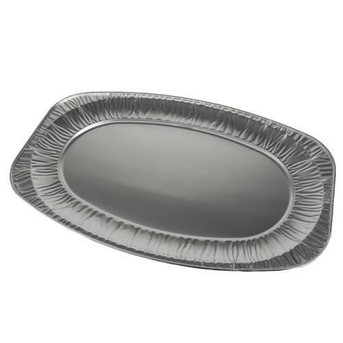 3 Servierplatten, Alu oval 55 cm x 36 cm