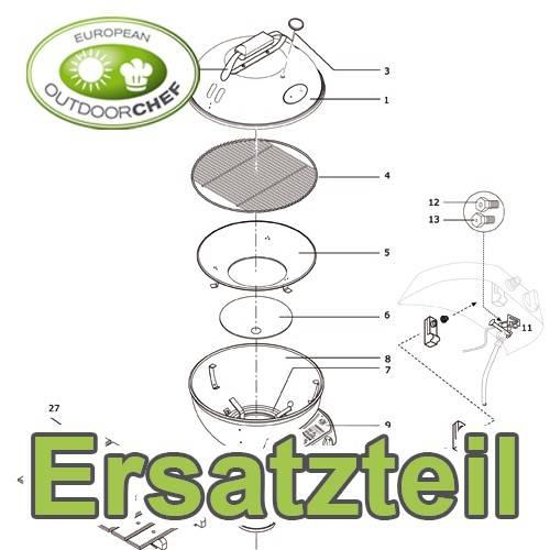 Outdoorchef Ersatzteil: Fahrgestell Radseite unten titan-silber für Classic Charcoal 570MX - 18.332.21