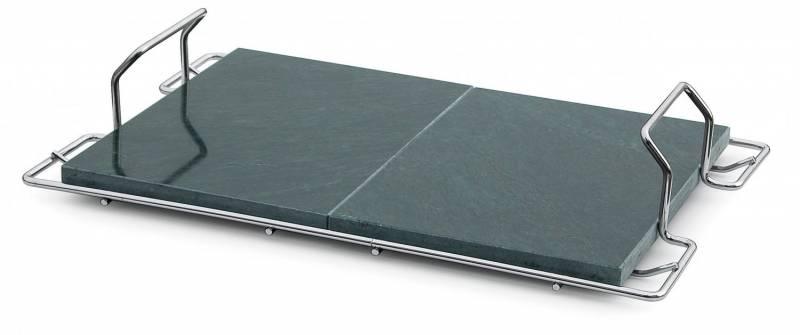Grillplatte aus Speckstein mit Griffen 60 x 40 cm