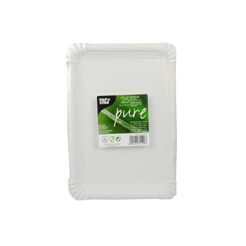 25 Teller Pappe pure eckig 16,5 cm x 23 cm weiss