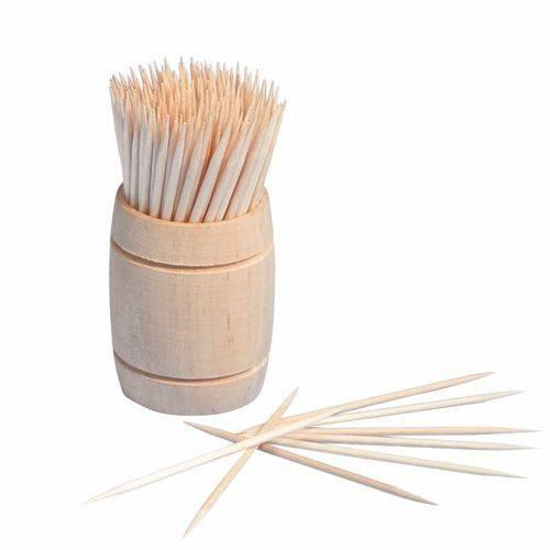 200 Zahnstocher Holz rund 6,8 cm im Spender aus Holz