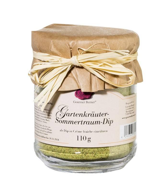 """Auslaufartikel - Gourmet Berner Gartenkräuter """"Sommertraum"""" Dip im 110g Glas"""