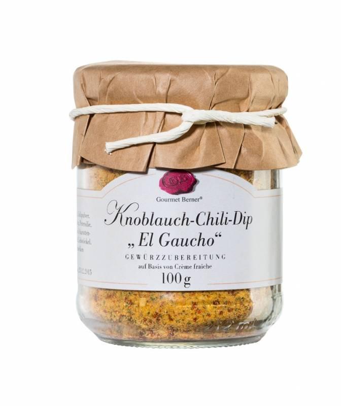 """Gourmet Berner Knoblauch Chili Dip """"El Gaucho"""" im 100g Glas"""