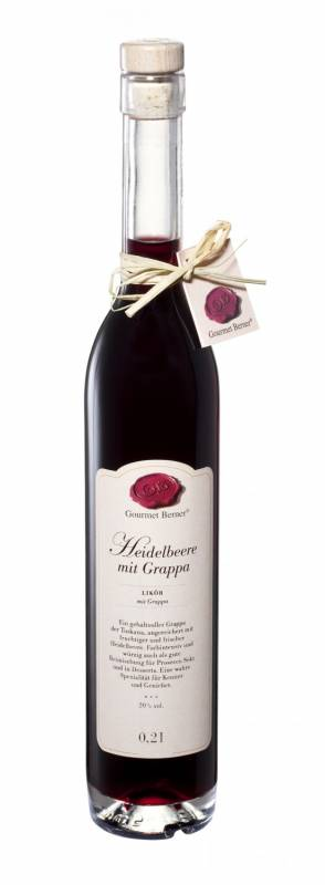 Gourmet Berner Heidelbeerlikör mit Grappa, 20%vol., 0,2l