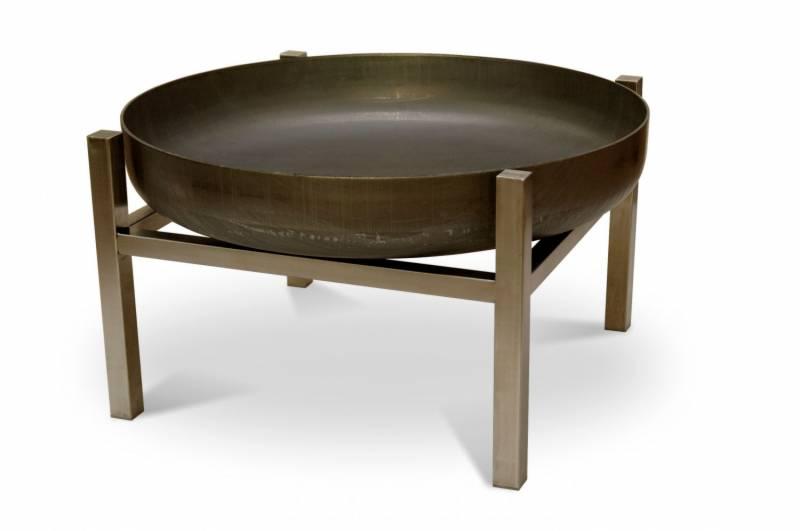 SvenskaV Design-Feuerschale CUBE M - Ø 63 cm - Höhe 34,5 cm - Rohstahl