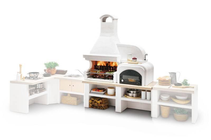 Palazzetti Gartenküche Malibu 2: Modul Grill mit Backofen rechts inkl. Montagematerial