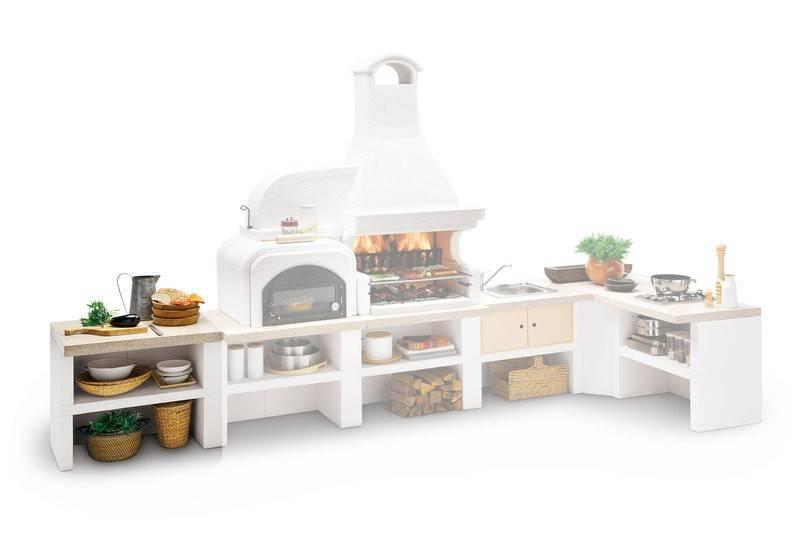 Palazzetti Gartenküche: Modul Arbeitsfläche, Marmortech rot