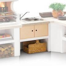 Palazzetti Gartenküche: Modul Spüle, Marmortech rot