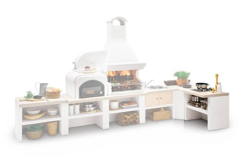 Palazzetti Gartenküche: Modul 2- flammige Gaskochstelle mit Edelstahl Abdeckung, Marmortech rot