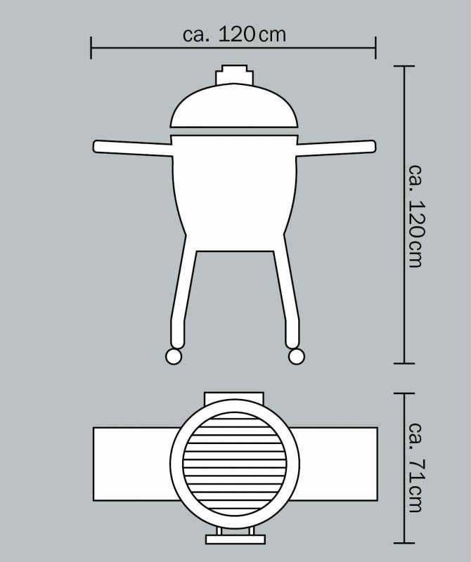 Monolith Grill Classic Red mit Gestell und Seitentischen MG18R - Set