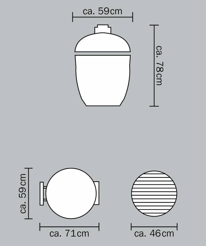 Monolith Grill Classic Black ohne Gestell und Seitentische MG18BNC - Set