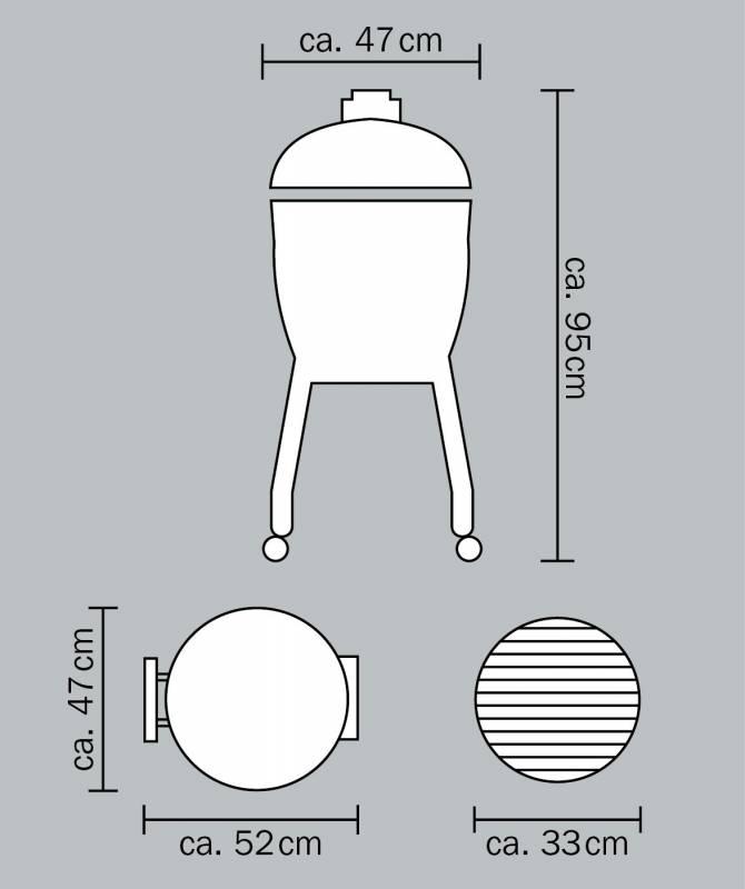 Monolith Grill Junior Red mit Gestell MG13R - Set
