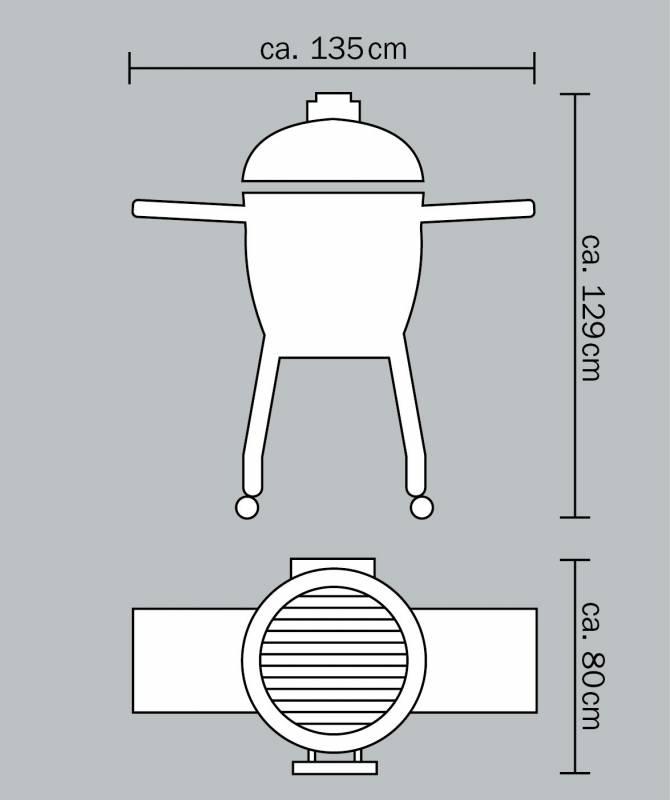 Monolith Grill LeChef Black mit Gestell und Seitentischen MG23B - Set