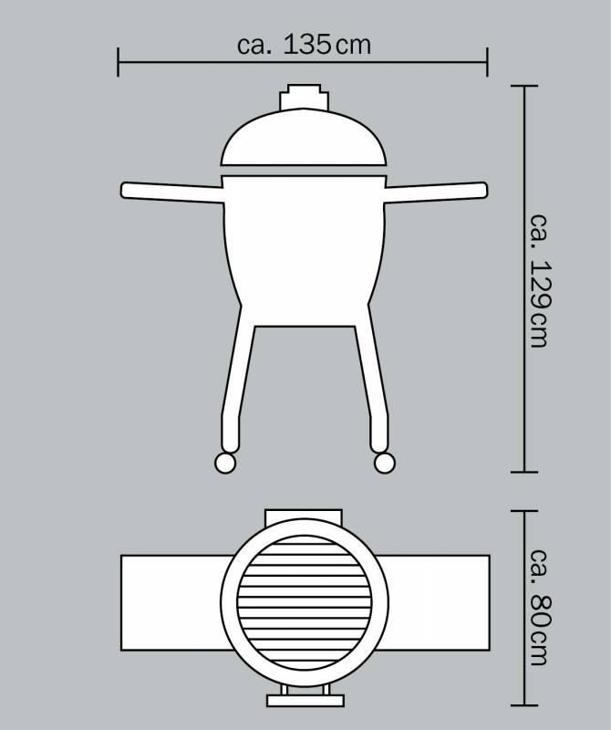 Monolith Grill LeChef Black mit Gestell und Seitentischen MG23B - Set - Auslaufmodell