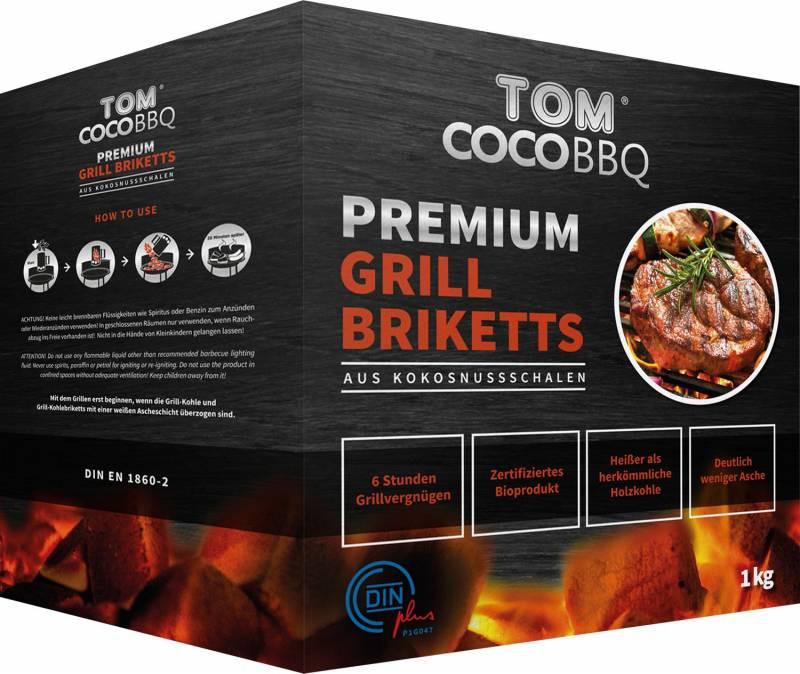 TOM Cococha Rot BBQ Grillbriketts 4kg - 4,0 x 3,0 x 2,5 cm