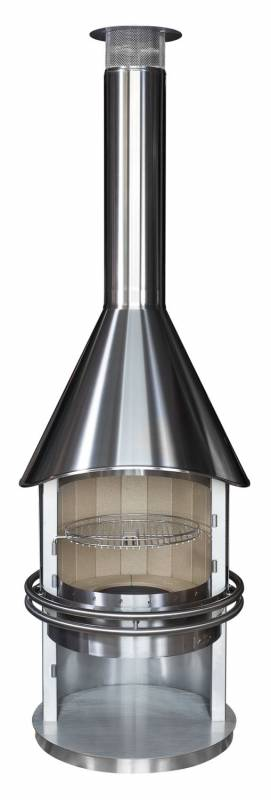 Grillkamin Cool Typ 2 Design Vesuv Edelstahl inkl. Funkenschutztür