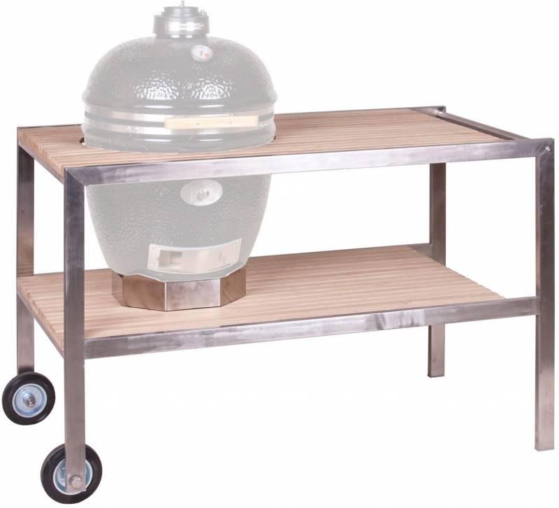 Monolith CLASSIC - Tisch aus Edelstahl und Teak