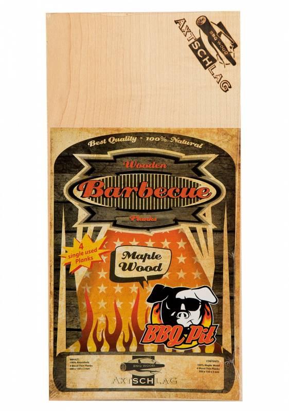 Auslaufartikel - Axtschlag Räucherbretter (Wood Planks) Single Use Maple / Ahorn 300 x 150 x 2 mm BBQ Pit 4er Pack