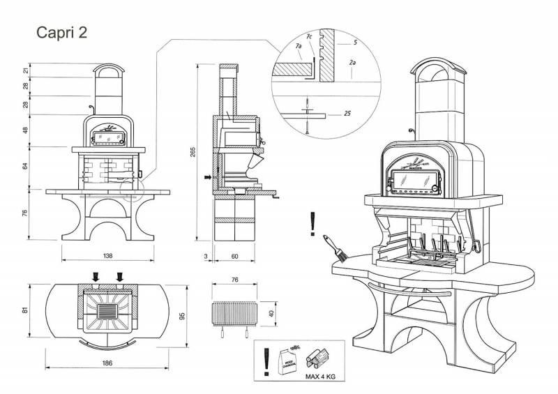 Palazzetti Grillkamin Capri 2 mit Backofen inkl. Montagematerial