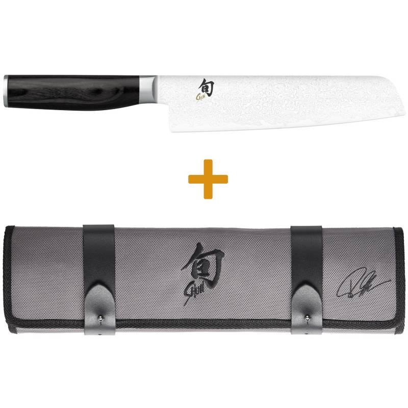 KAI Shun Premier Tim Mälzer Set: Minamo Santoku 18 cm Klinge + Messertasche für 3 Messer