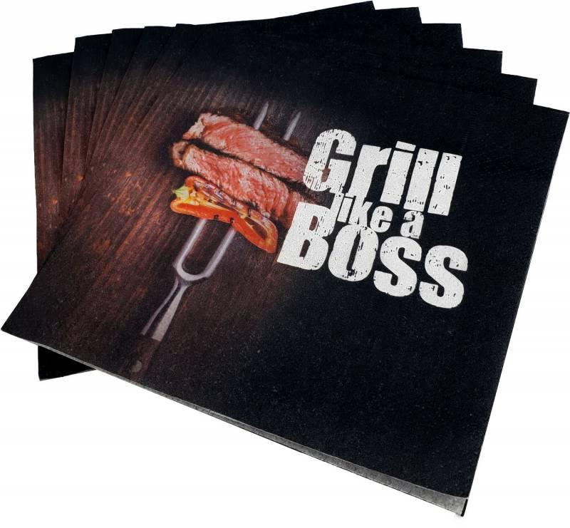 """Grillfürst Servietten """"Grill like a Boss"""" - 20 Stück"""