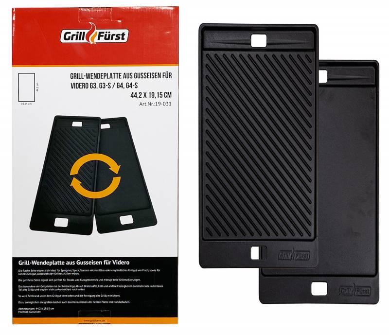 Grillfürst Grillplatte Gusseisen für Videro G3/G3-S und G4/G4-S bis Modell 2020, auch für G2-S Vario+ und G3-S Vario+ geeignet, 44,5 x 19,2 cm
